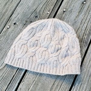 Nordstrom Taupe Cable Knit Cashmere Beanie